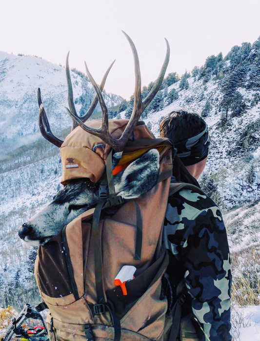 Zach Davis packing out his Utah archery mule deer