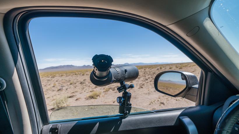 Zeiss Victory Harpia spotting scope on window mount