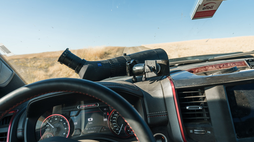Zeiss spotting scope on truck dash