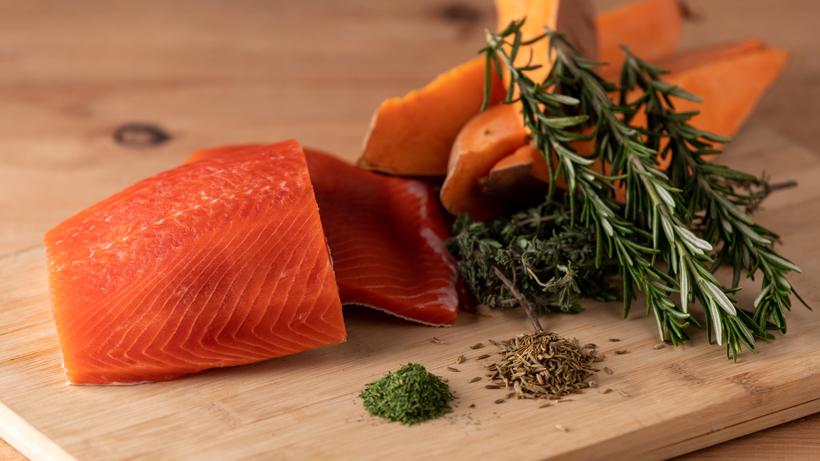 Fresh Caught Alaskan Salmon On A Cedar Plank