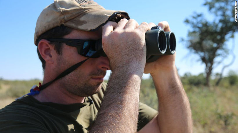 Corey Knowlton glassing for his black rhino in Namibia