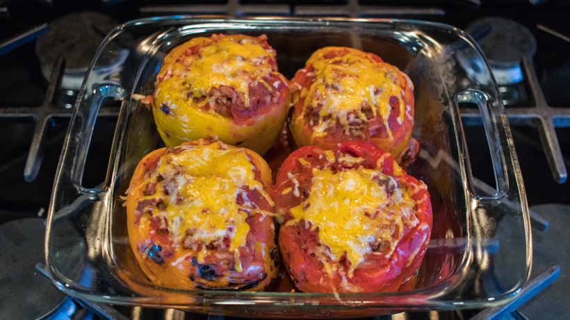 Fire-roasted stuffed elk peppers