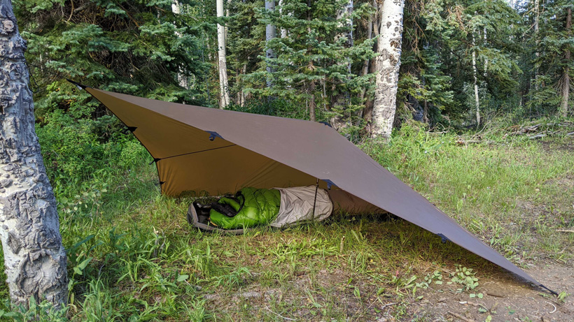 Diamond fly tarp set up