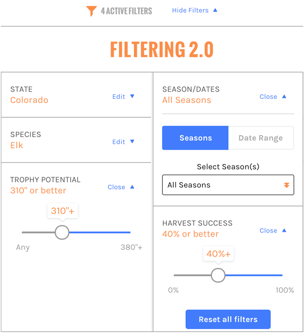 Filtering 2.0 showing the filter options