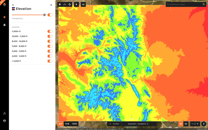 goHUNT Maps Elevation bands showing an entire state