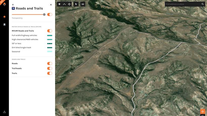 goHUNT Maps roads and trails