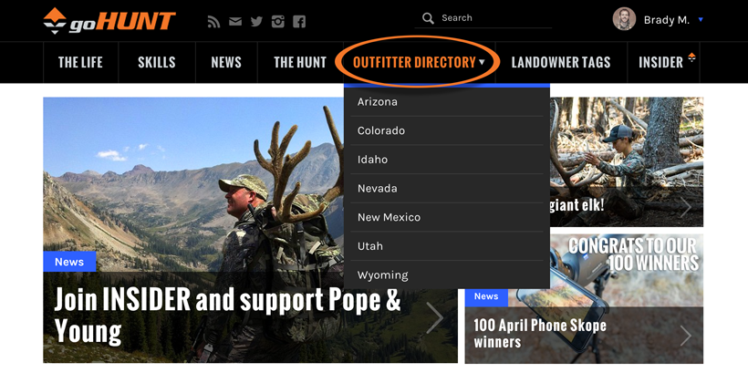 goHUNT's outfitter directory