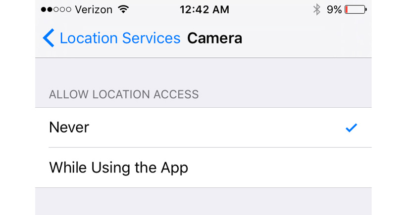 iPhone camera location services turned off