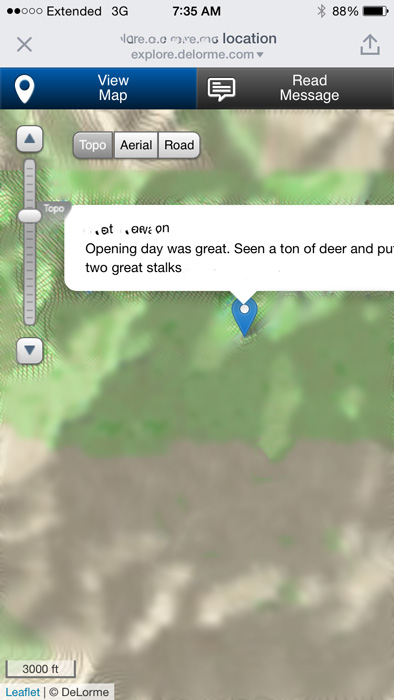 inReach message showing location