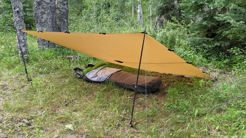Lean-to tarp set up