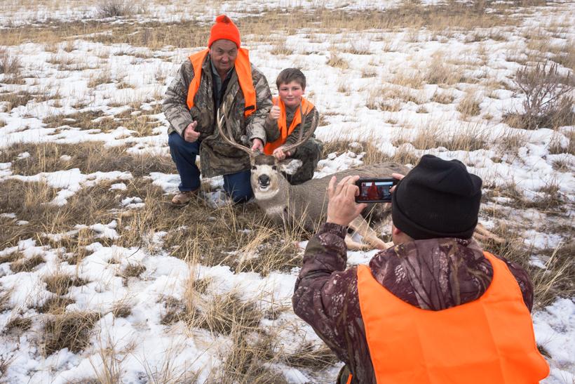 Happy family of hunters