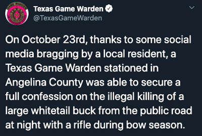 Texas Game Warden Twitter Post