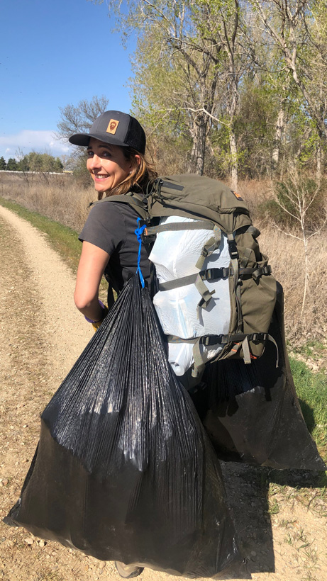 Collecting trash in the backcountry