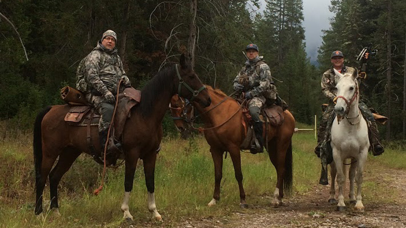On horse back getting ready for a Wyoming elk hunt