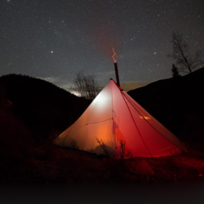 Hunting camps: glowing tent photos