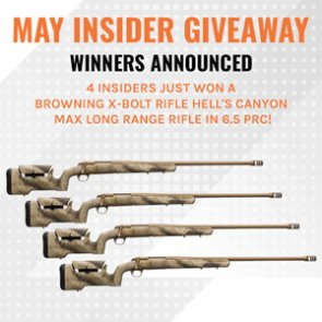 WINNERS ANNOUNCED - Four INSIDERs just won a Browning X-Bolt Rifle in 6.5 PRC