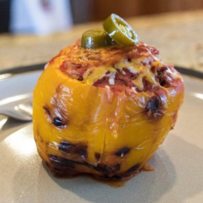 Fire-roasted elk stuffed peppers