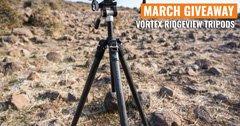 March INSIDER Giveaway - 6 Vortex Ridgeview Carbon Fiber Tripods